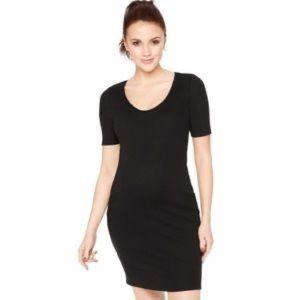 Bump Start Black Ribbed Little Black Dress